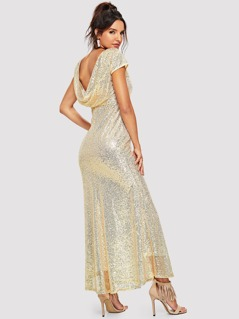 Sequin Contrast Draped Dress