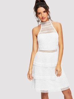 Layered Hem Lace Halter Dress