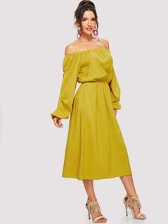 Off Shoulder Elastic Waist Dress