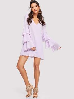 Layered Petal Sleeve V-Neck Dress
