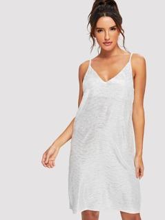 V Neck Metallic Cami Dress