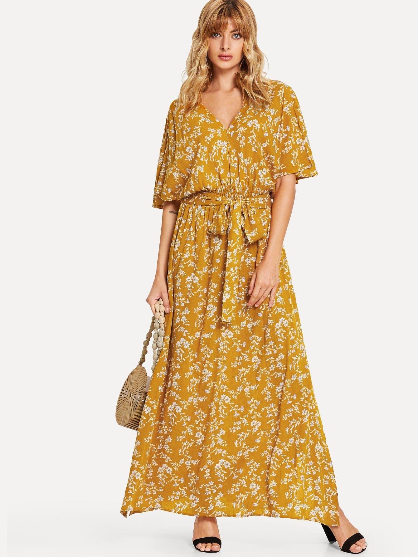 Купить Талия эластичное цветочное платье для печати, Masha, SheIn