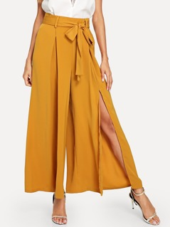 Self Belted Wide Leg Pleated Pants