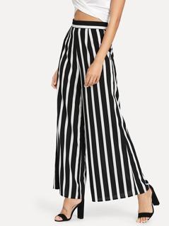 Wide Waist Striped Pants