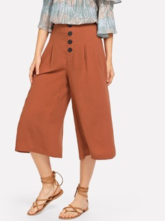 Wide Waist Button Embellished Wide Leg Pants