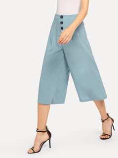 Wide Waist Button Embellished Wide Leg Pants