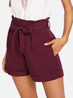 Self Belted Rolled Hem Shorts