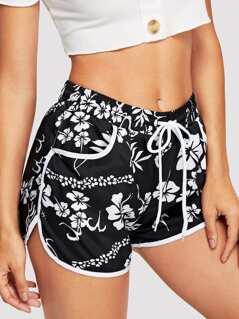 Waist Drawstring Pocket Print Shorts