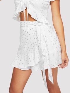 Waist Belted Ruffle Pentagram Print Skirt