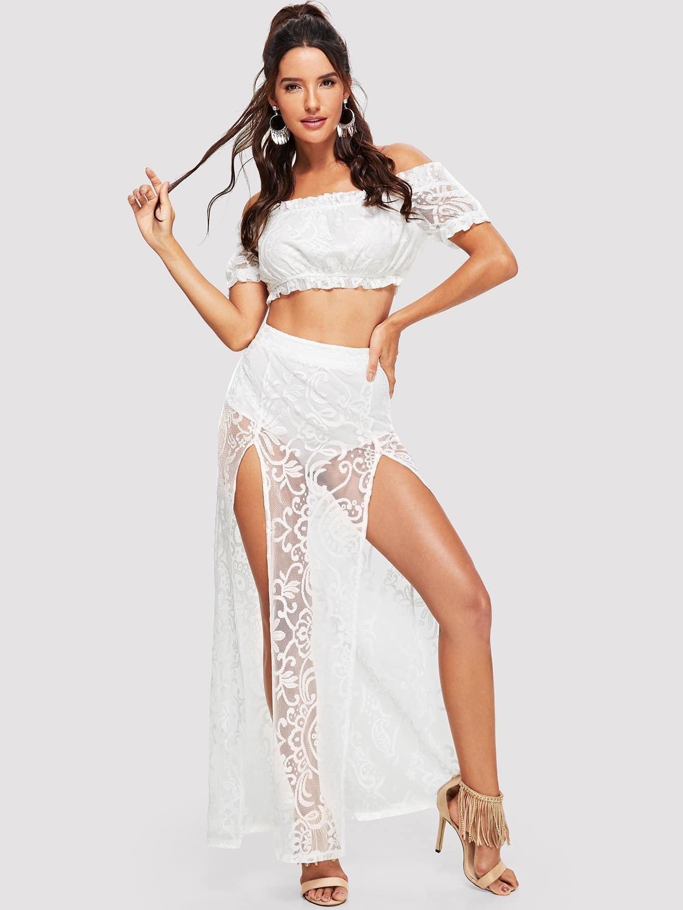 Купить Круглая вышитая сплит-юбка, Juliana, SheIn