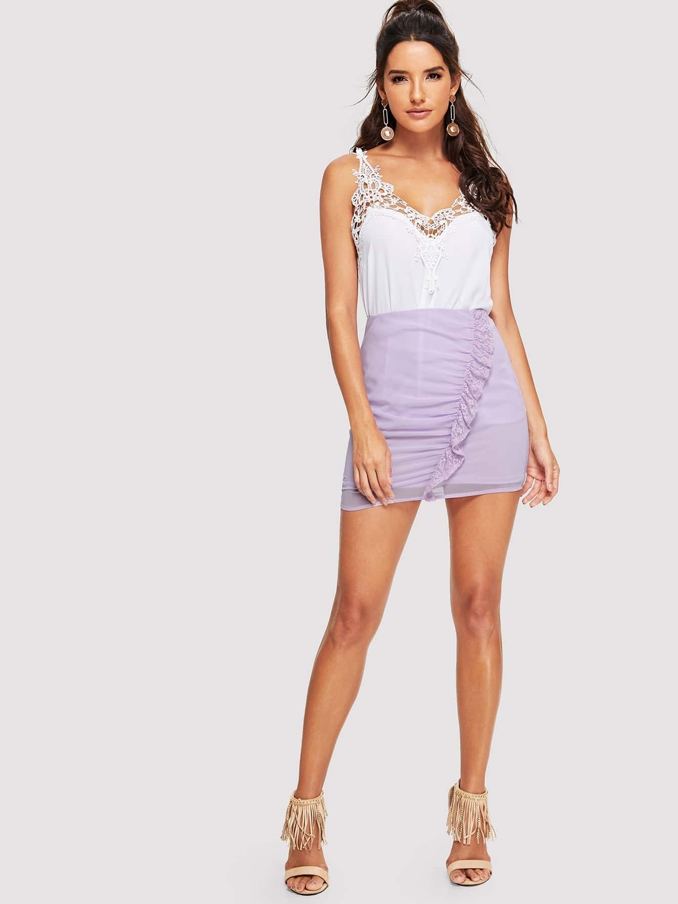 Lace Detail Bodycon Skirt
