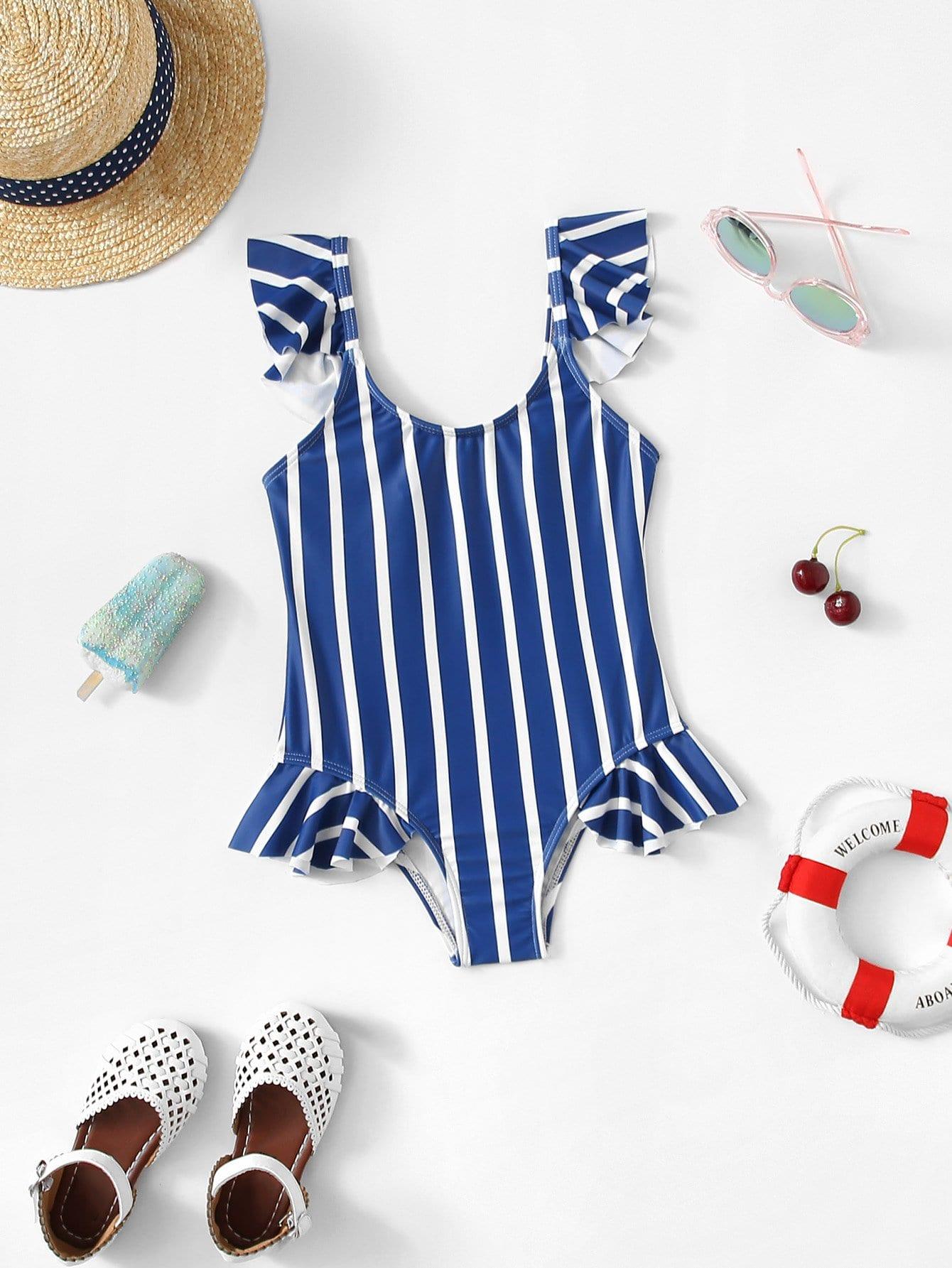 Girls Striped Ruffle Trim Swimsuit