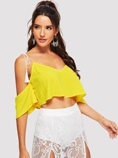 Neon Yellow Tassel Tie Cold Shoulder Top