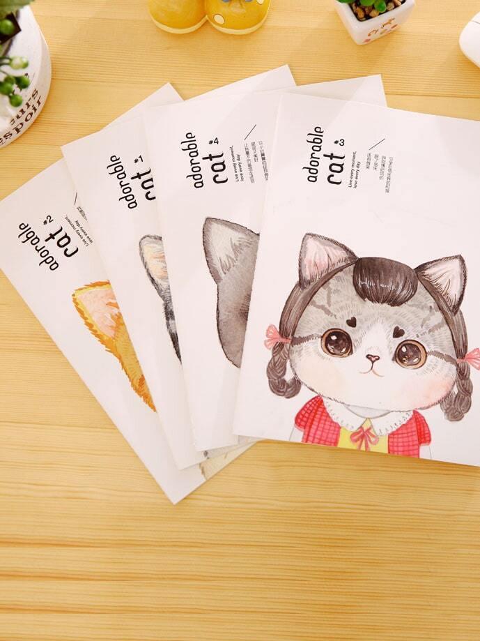 Купить Записная книжка с рисунками случайных котов 38 шт, null, SheIn