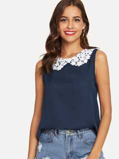 Lace Peter Pan Collar Shell Top