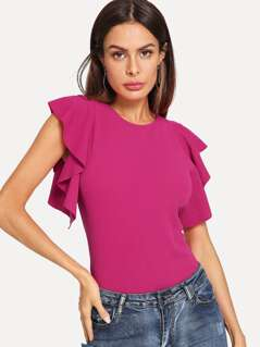 Neon Pink Ruffle Armhole Solid Top