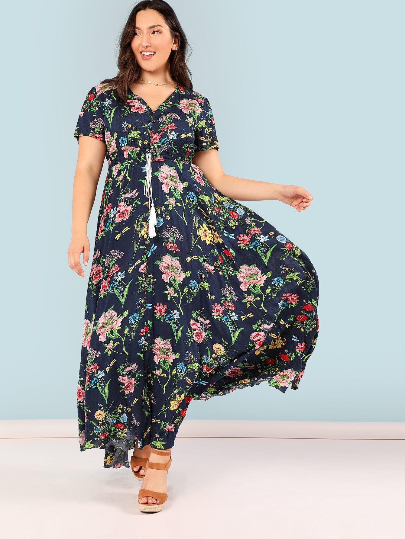 Купить Ботаническая печать Shirred Tassel Drawstring Талия Maxi Dress, Brianna Marquez, SheIn