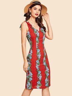 Bow Strap Floral Print V Neck Dress