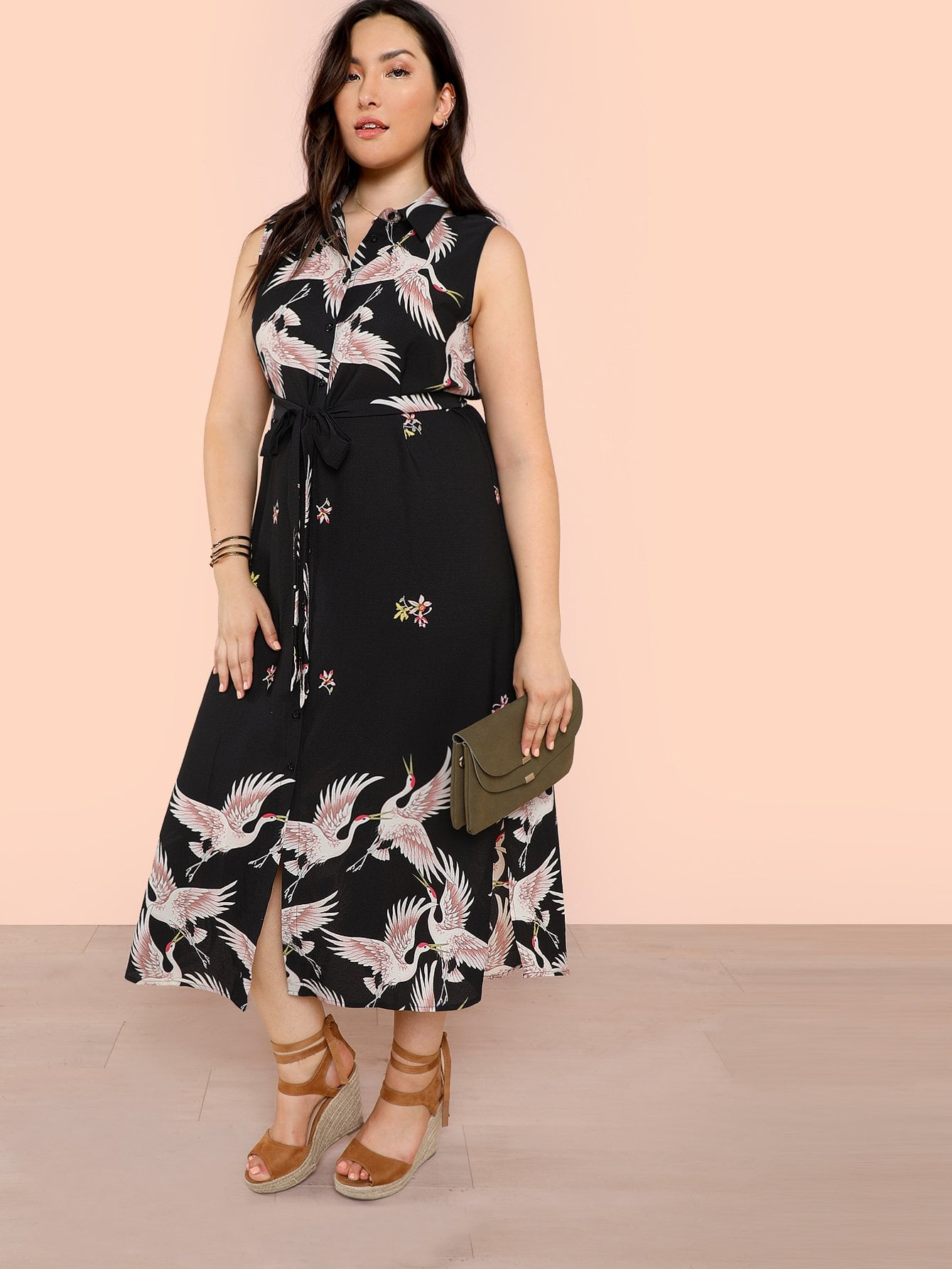 Plus Crane Bird Print Sleeveless Shirt Dress with Belt edith marquez feria juarez