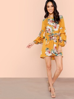 Gathered Sleeve Half Placket Floral Dress