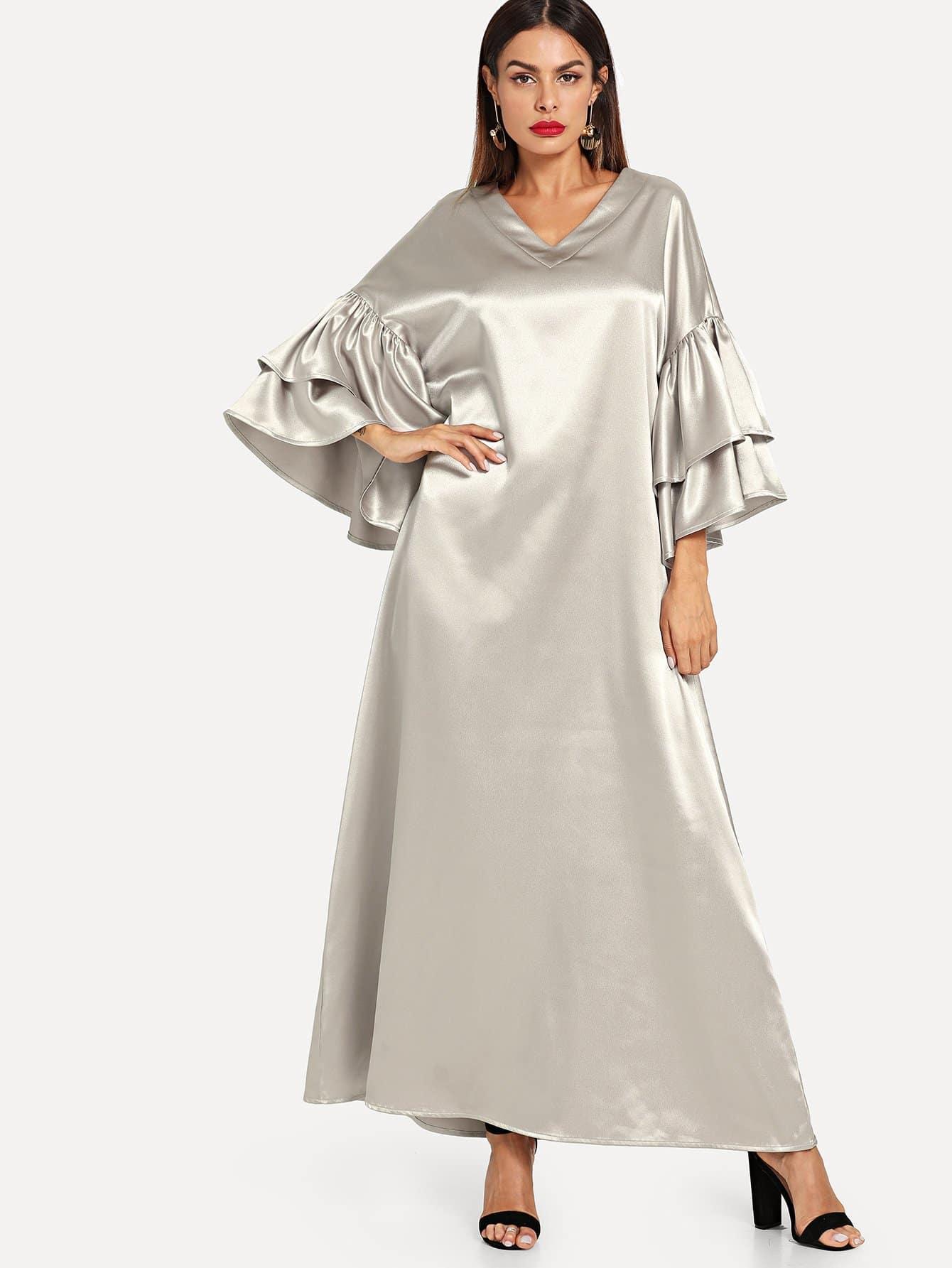 Layered Flounce Sleeve Silky Hijab Long Dress