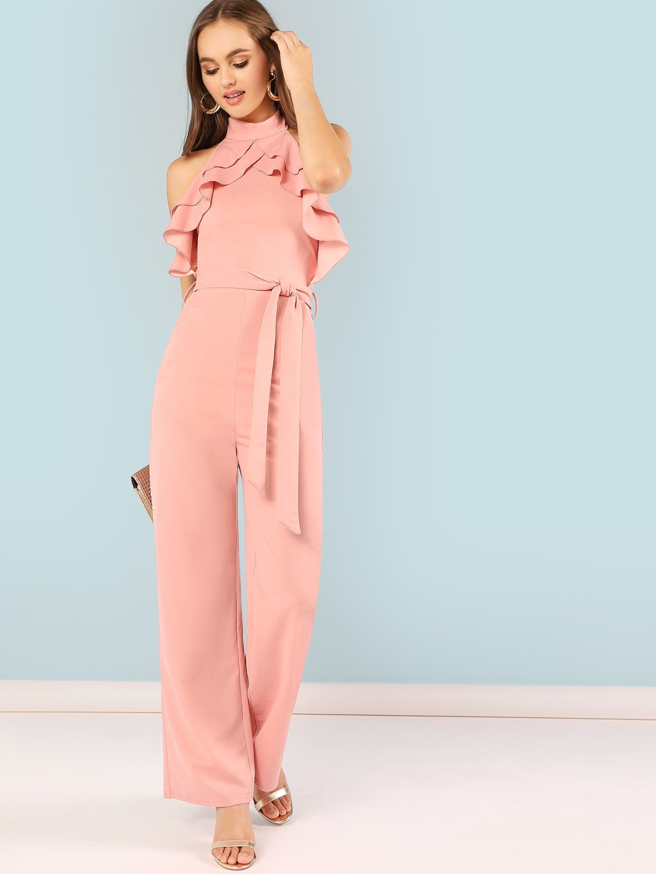 Mock Neck Layered Ruffle Trim Belted Jumpsuit choker neck embroidered ruffle trim jumpsuit