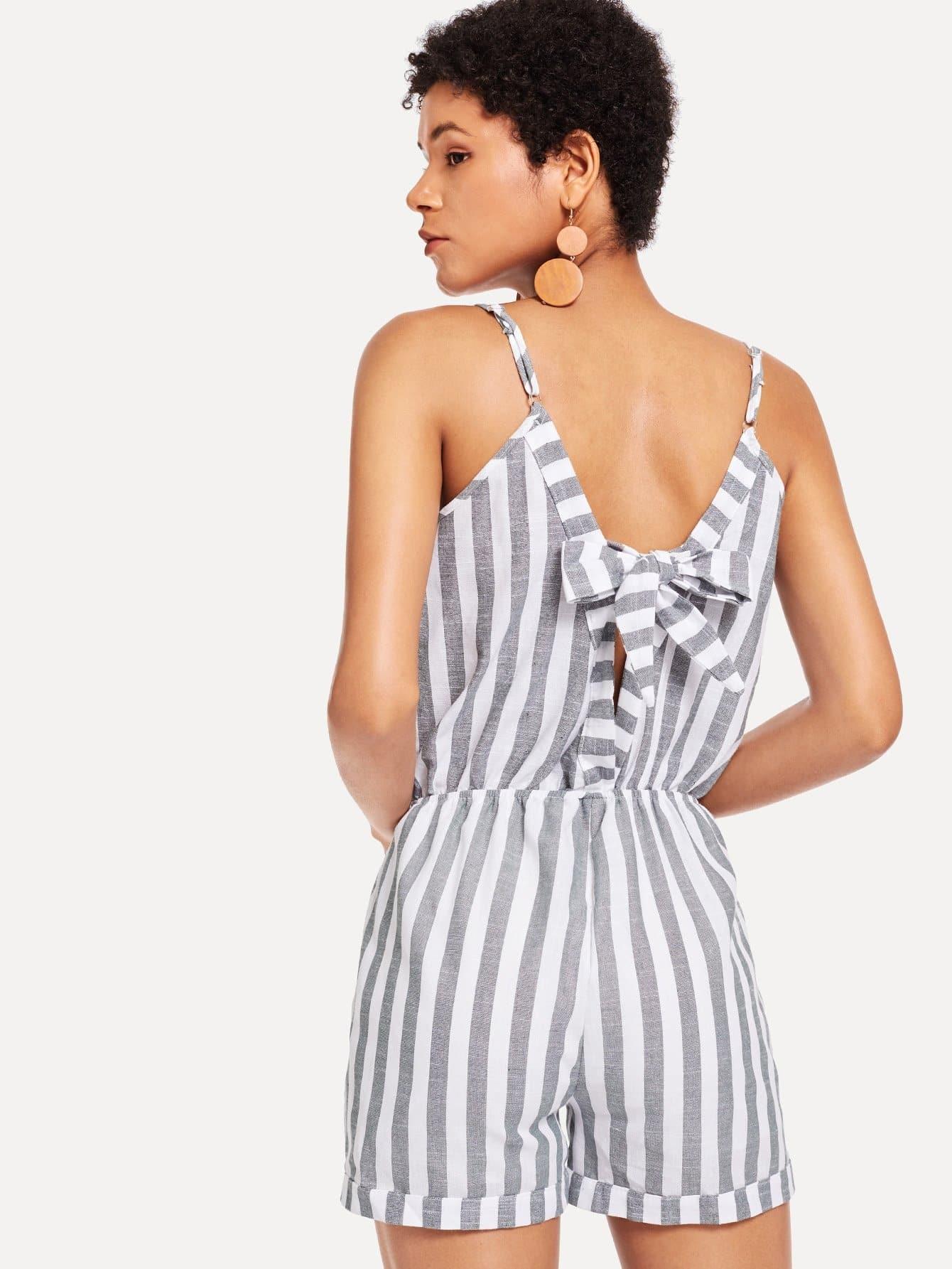 Wrap Front Striped Cami Romper