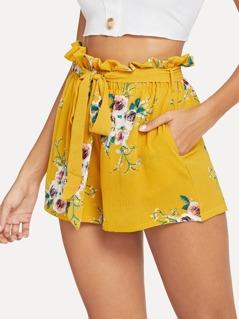 Frilled Waist Floral Print Belted Shorts