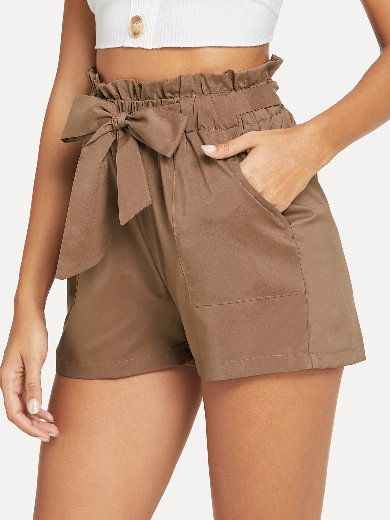 Self Belted Ruffle Waist Shorts self belted ruffle waist pinstripe skirt