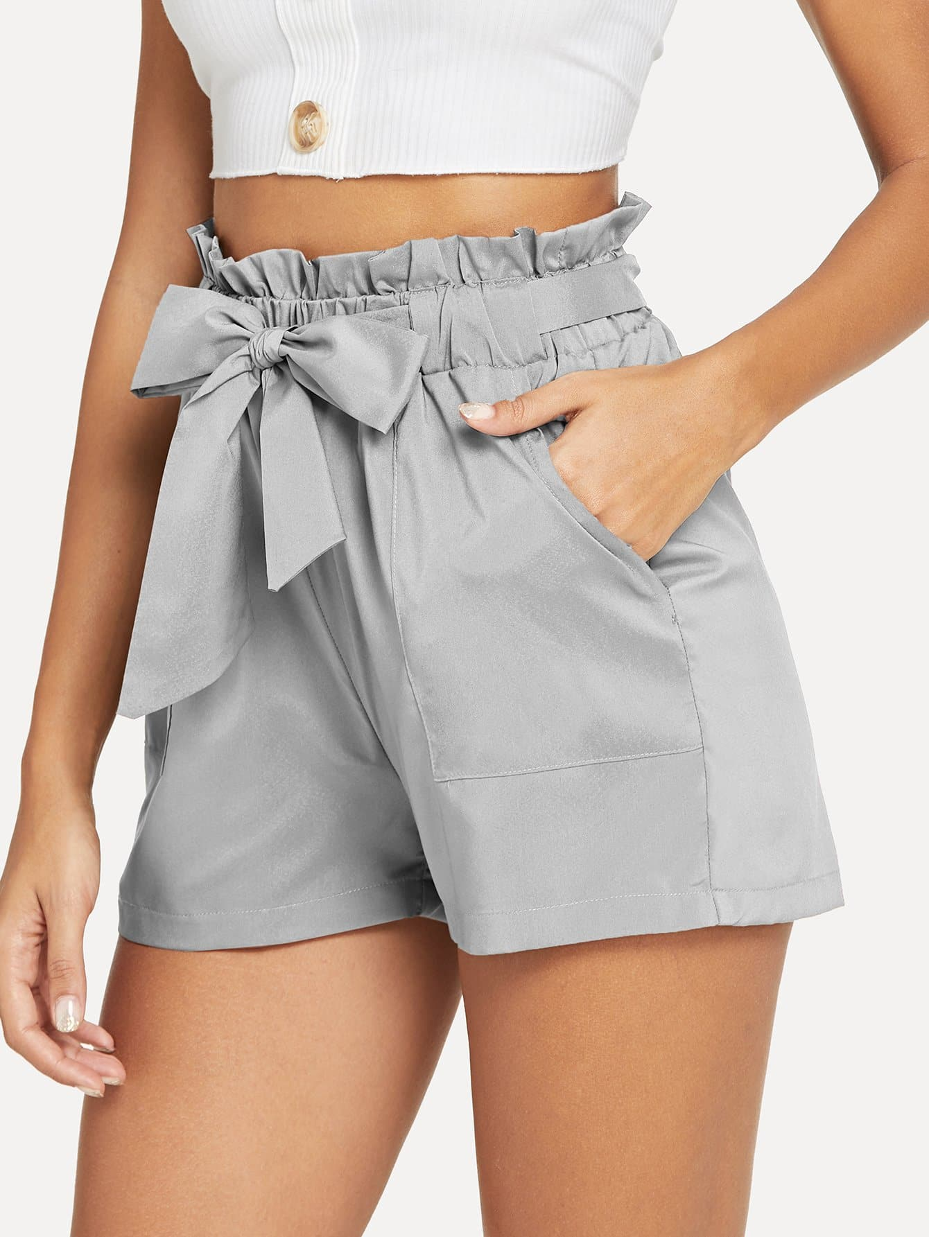 Self Belted Ruffle Waist Shorts ruffle waist self belt grid shorts