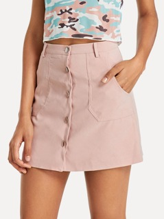 Slants Pocket Button Up Skirt