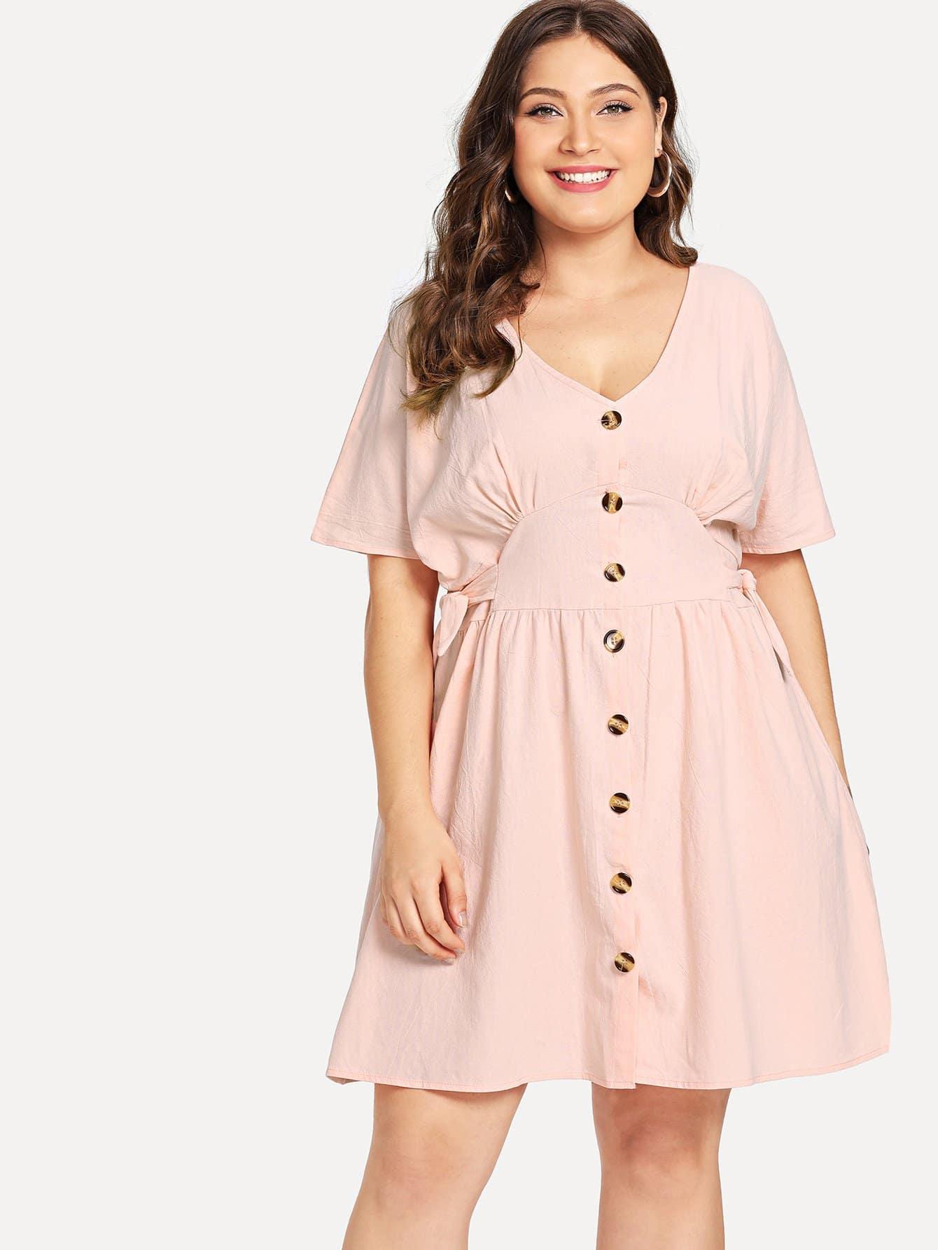 Plus Button Decoration V Neck Dress