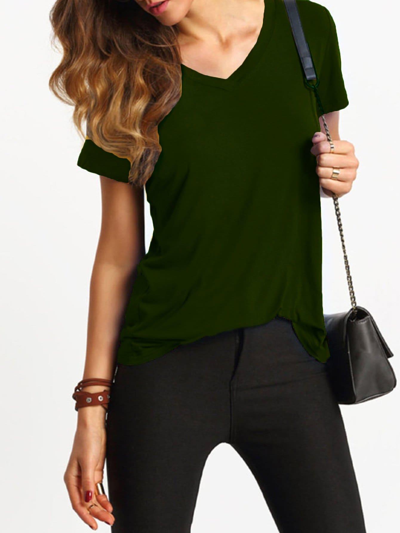 Купить Повседневная футболка с V-Cut рукавами, null, SheIn