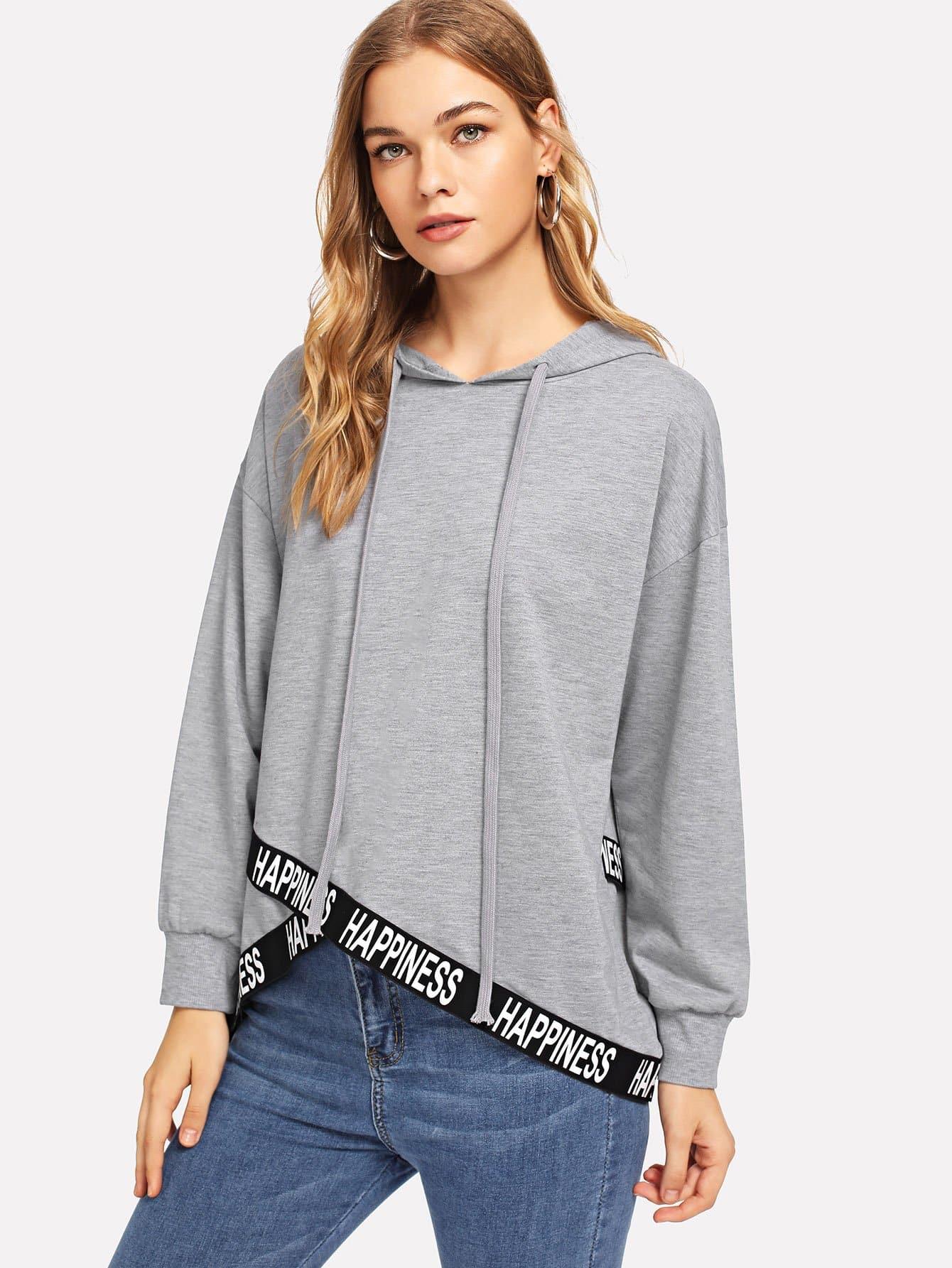 Купить Повседневный Текст на кулиске Пуловеры Серый Свитшоты, Teresa, SheIn