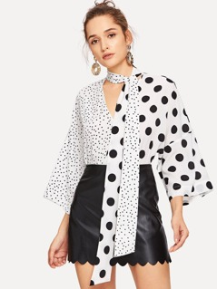 Two Tone Polka Dot Print Tie Neck Top
