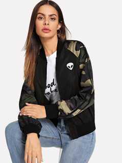 Zip Up Camo Sleeve Bomber Jacket