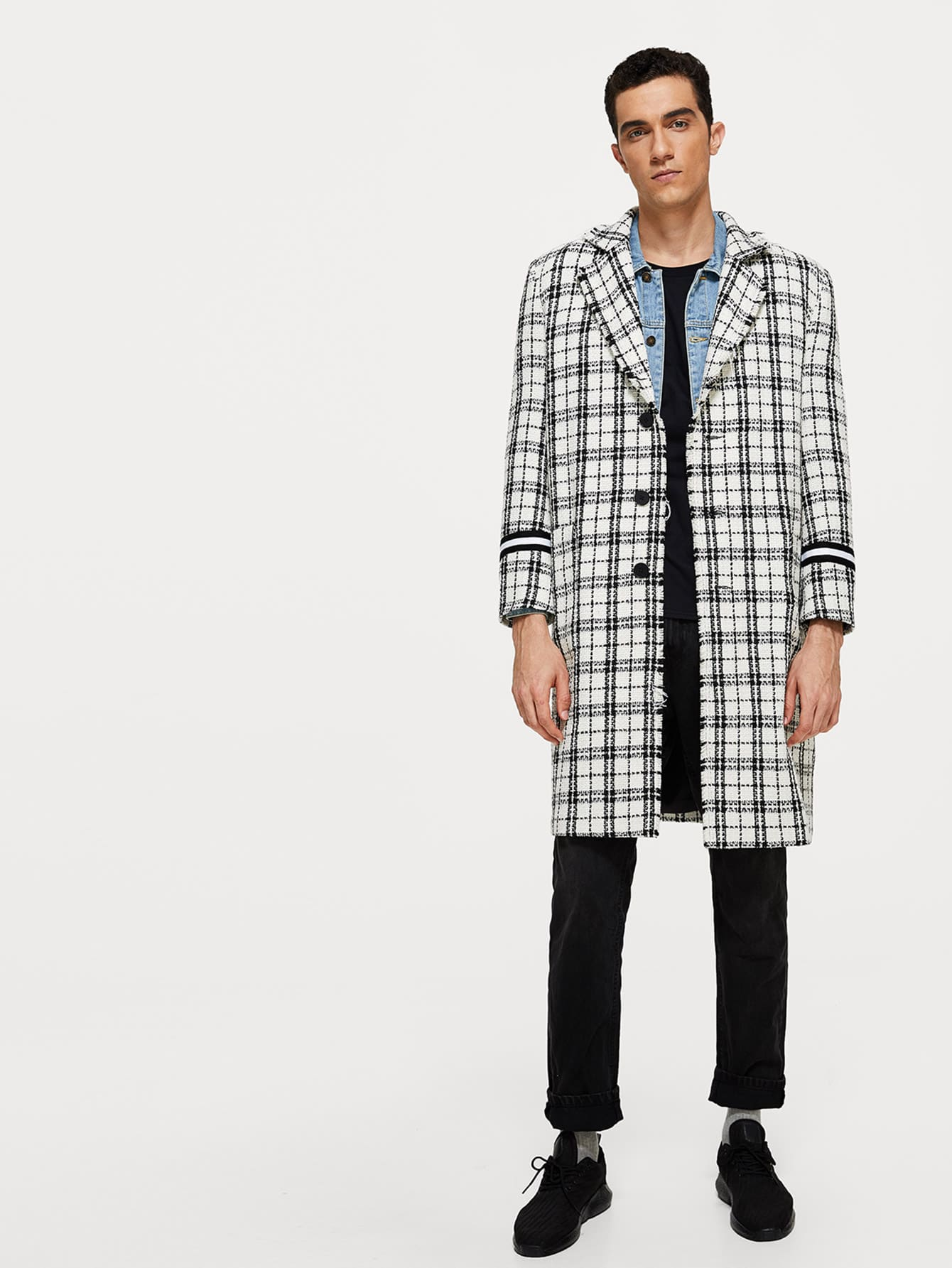 Купить Мужское однобортное пальто с вырезом, Lucas, SheIn