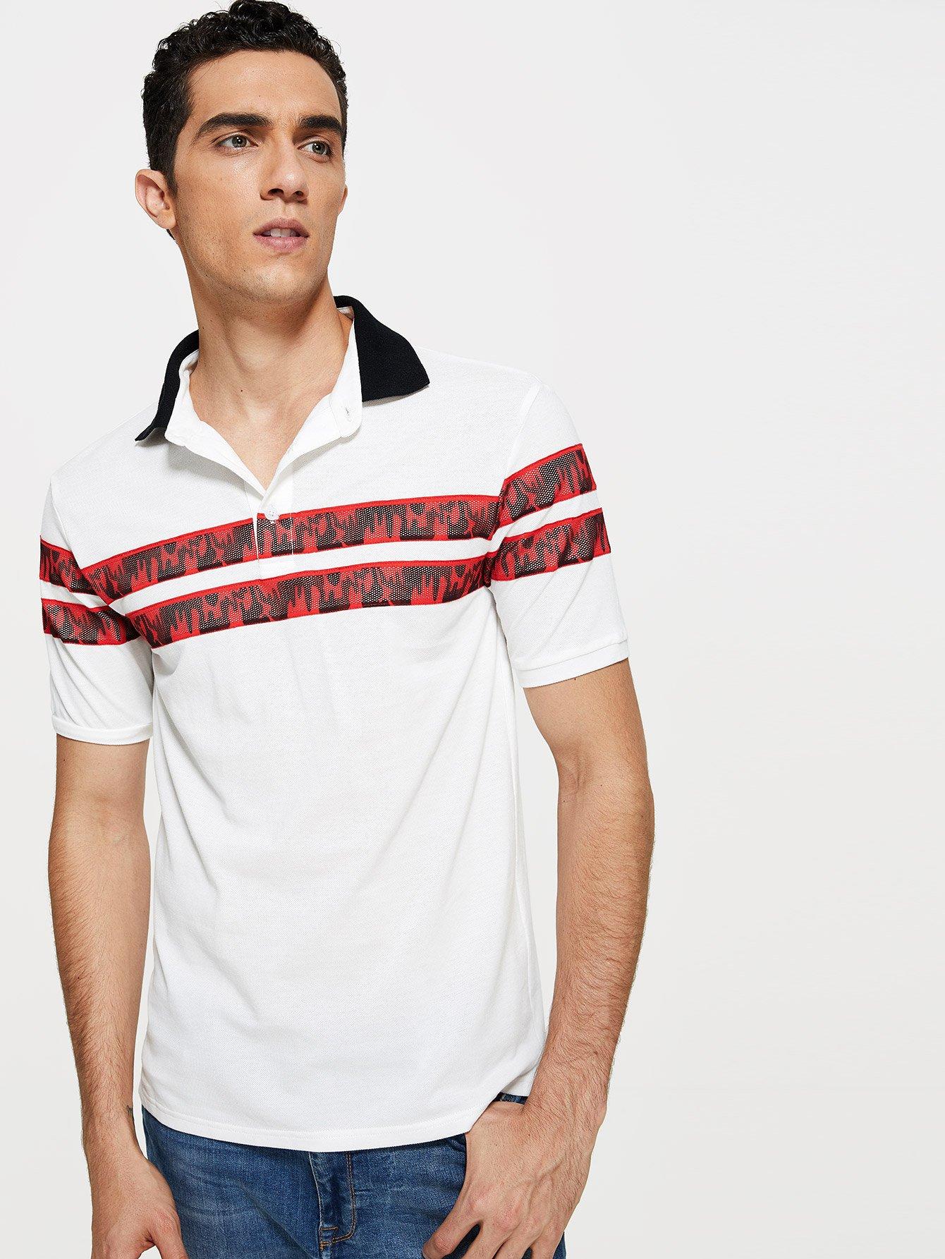 Купить Мужская контрастная воротниковая рубашка-поло, Lucas, SheIn