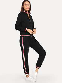 O-Ring Zip Up Striped Side Top & Pants Set