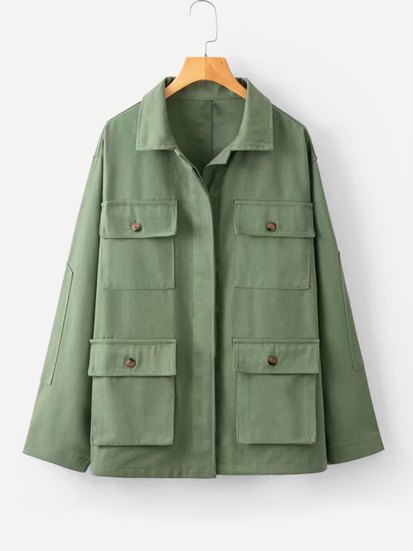 Купить Простая куртка и с украшением двух кармана, null, SheIn
