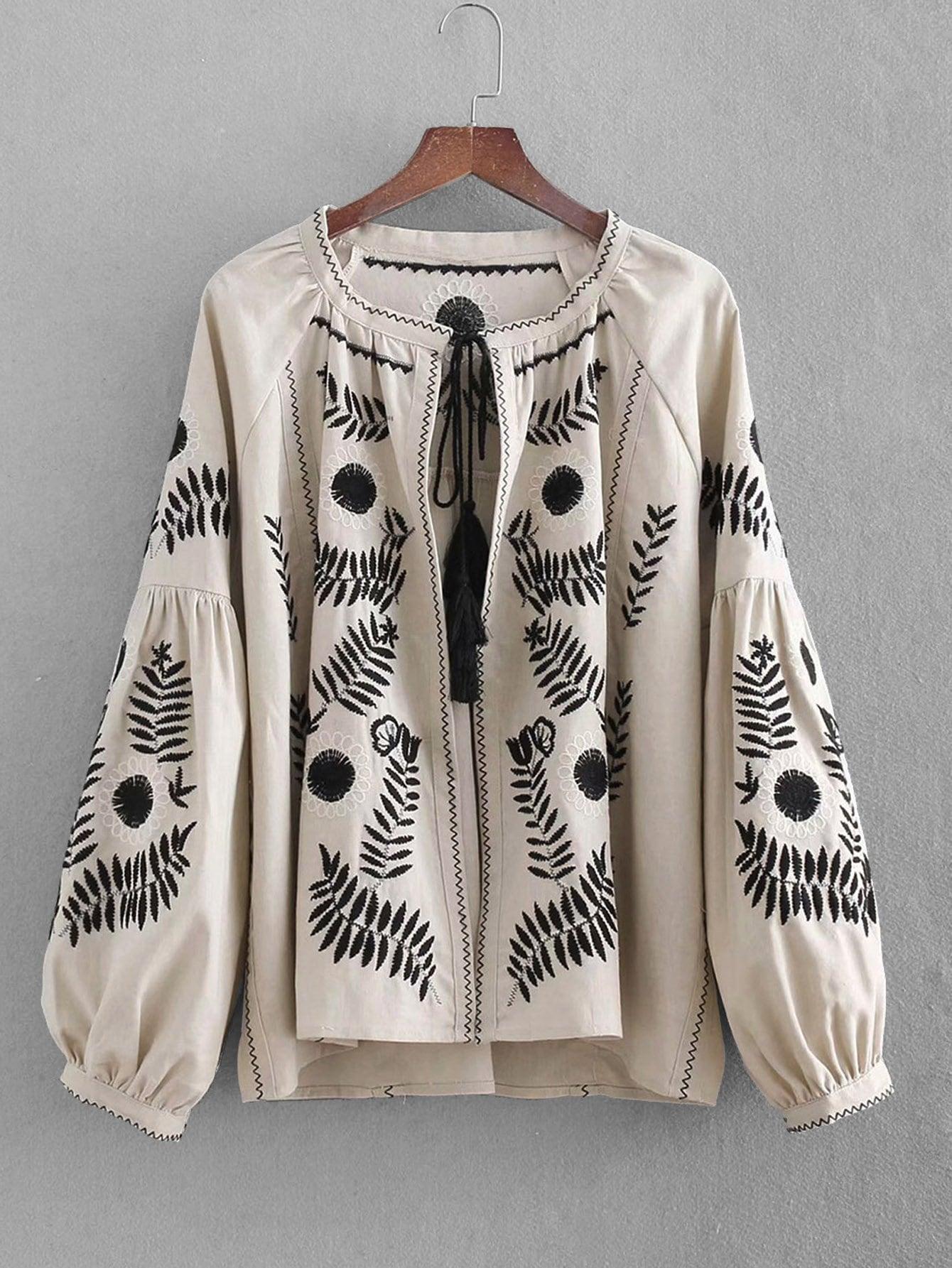 Drop Shoulder Куртка с рисунками тропических листьев вышивки