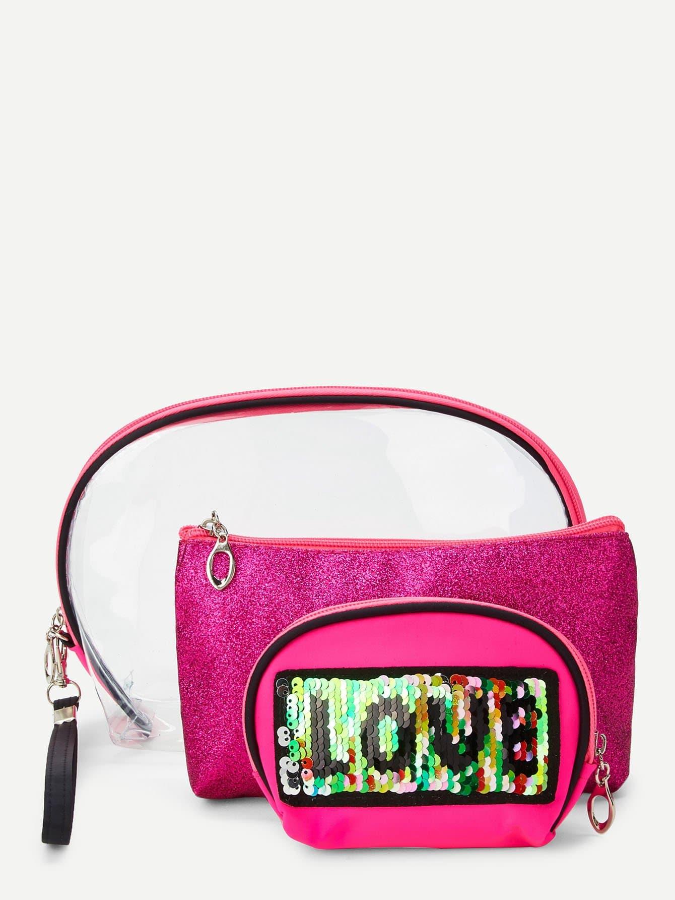 Купить Sequin украшенный сумка для макияжа 3шт., null, SheIn