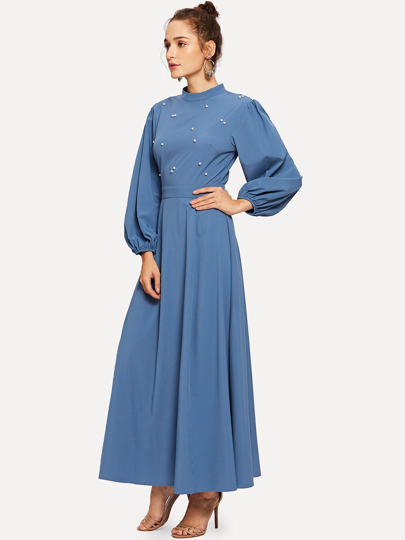 Купить Mock Neck Pearl Embellished Open Back Maxi Dress, Kristina, SheIn