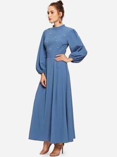 Mock Neck Pearl Embellished Open Back Maxi Dress
