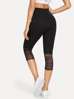 Eyelash Lace Trim Short Leggings