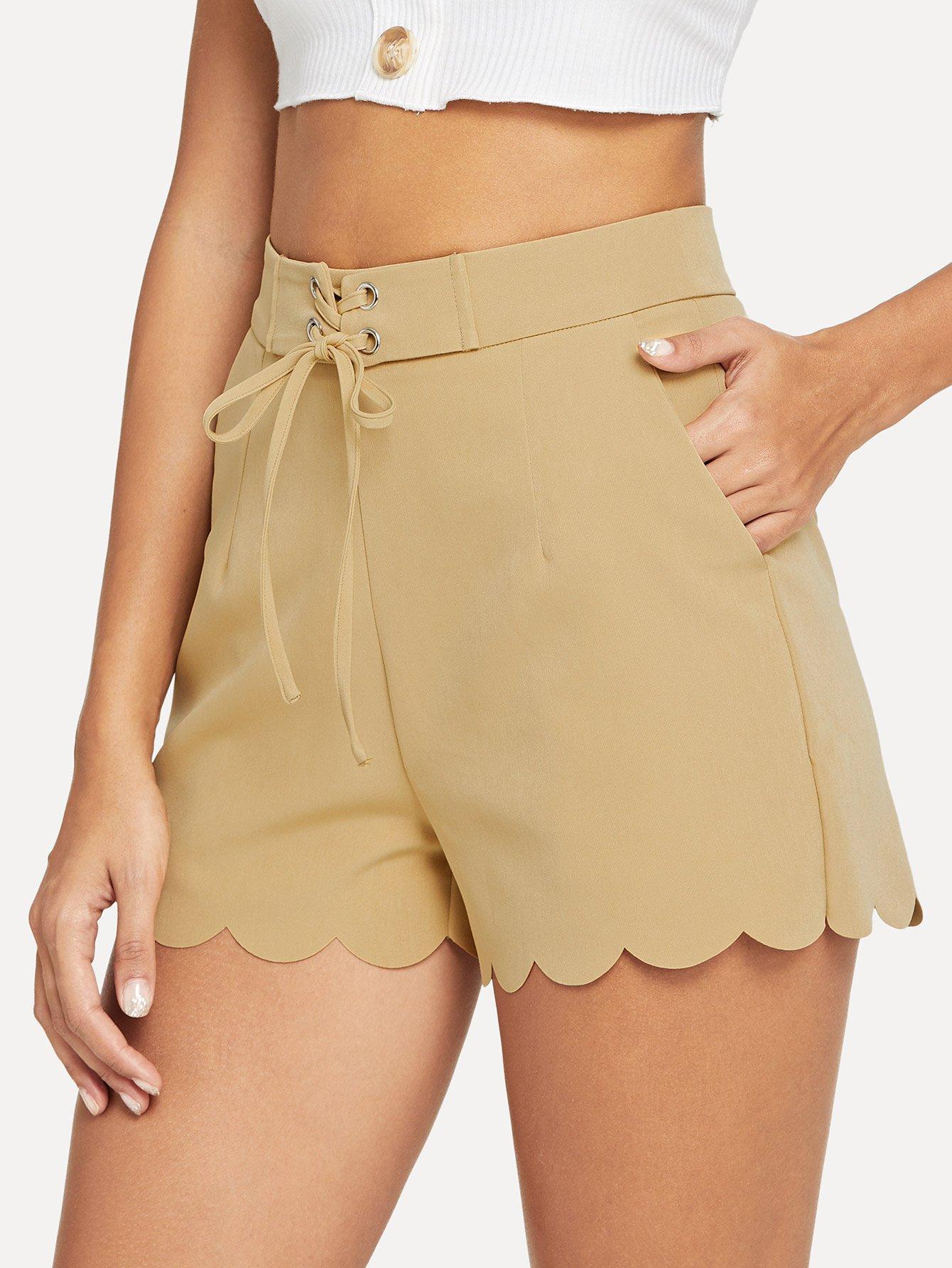 Lace Up Waist Scallop Edge Shorts