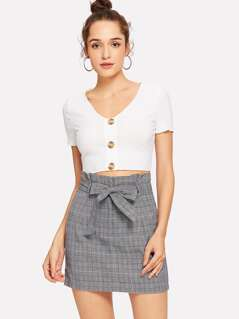 Bow Tie Waist Plaid Skirt