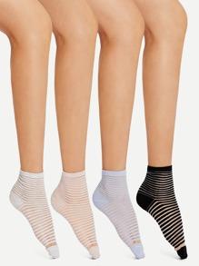 Striped Design Ankle Socks 4Pairs