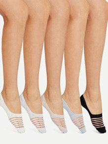 Striped Design Invisible Socks 5Pairs
