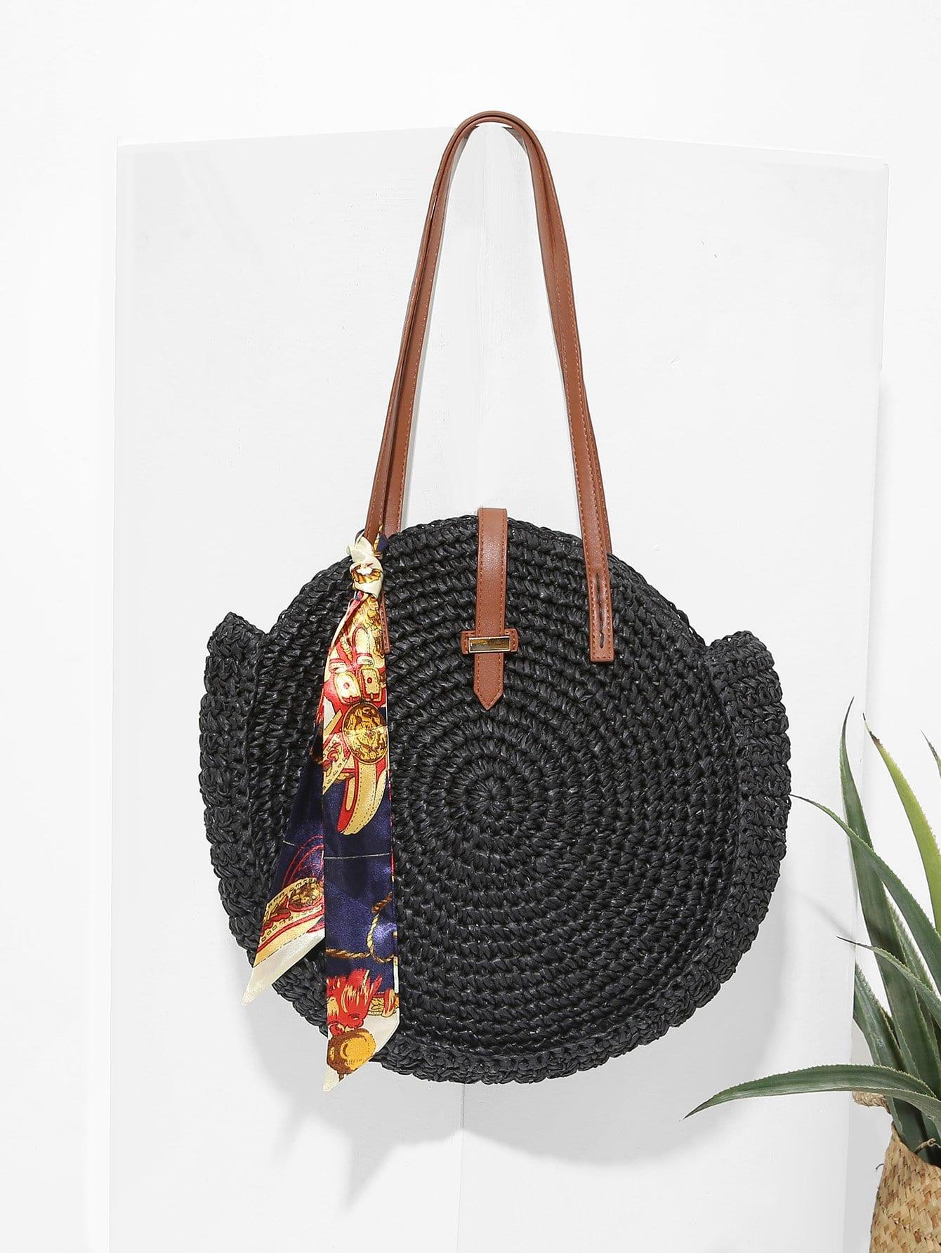 Купить Соломенная круглая сумка и с украшением пояса и шелкового шарфа, null, SheIn